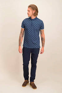 Kultivate regular fit polo met all over print donkerblauw/wit/oranje, Donkerblauw/wit/oranje