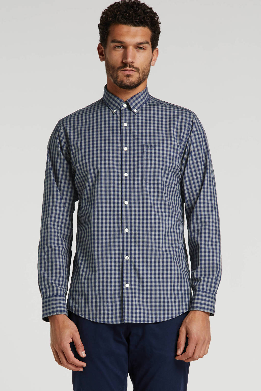 McGregor geruit regular fit overhemd grijs/blauw, Grijs/blauw