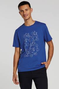 ARMEDANGELS T-shirt met printopdruk blauw, Blauw/wit