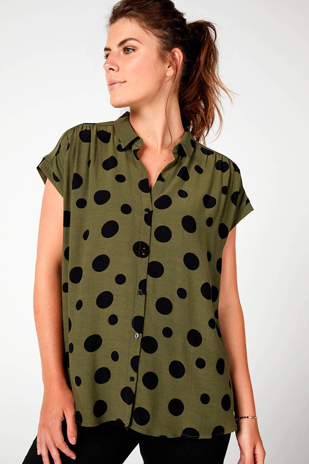 Miss Etam Regulier blouse met stippen groen, Groen