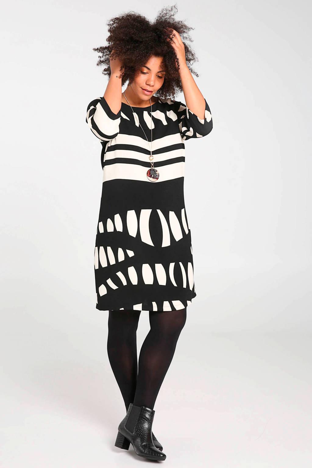 Paprika jurk met all over print zwart/ecru, Zwart/ecru