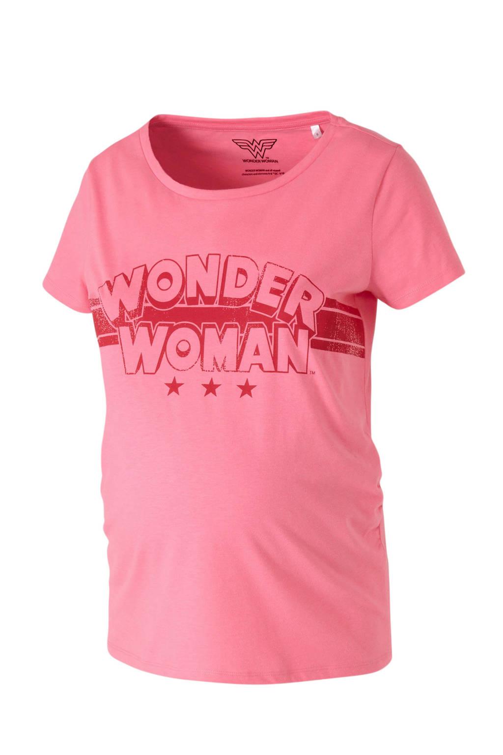 C&A Positiemode zwangerschapsshirt met tekst roze/rood, Roze/rood