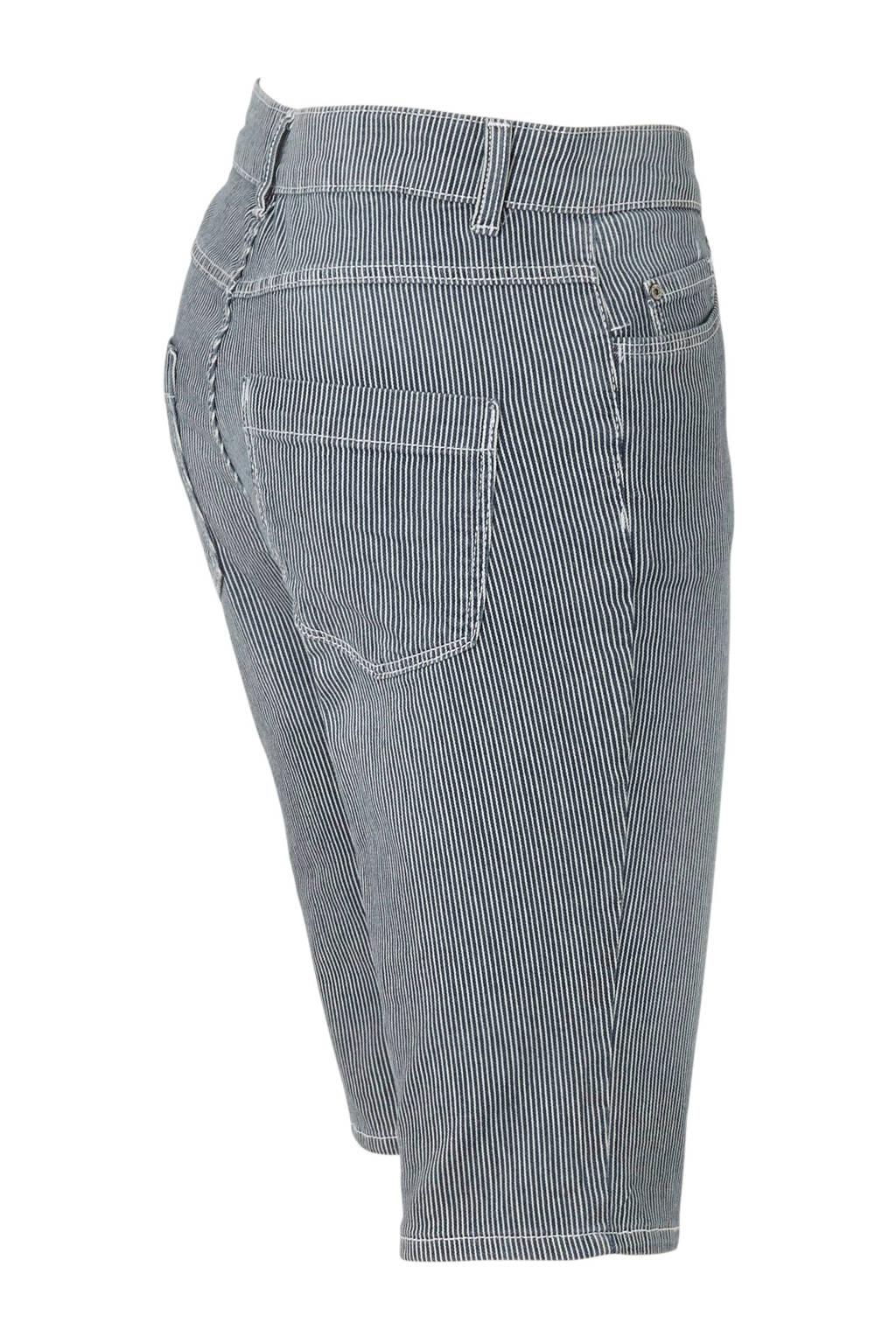C&A The Denim gestreepte jeans short dark denim/wit, Dark denim/wit