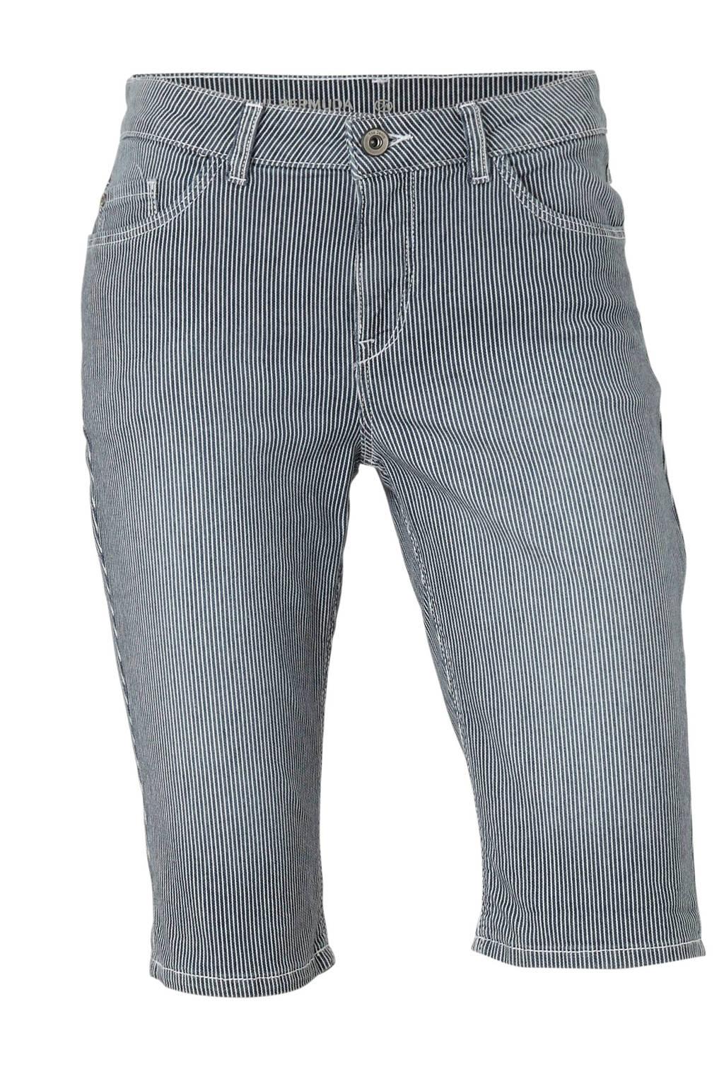 C&A The Denim gestreepte slim fit jeans short, Dark denim/wit
