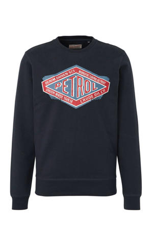 sweater met printopdruk zwart/blauw/rood