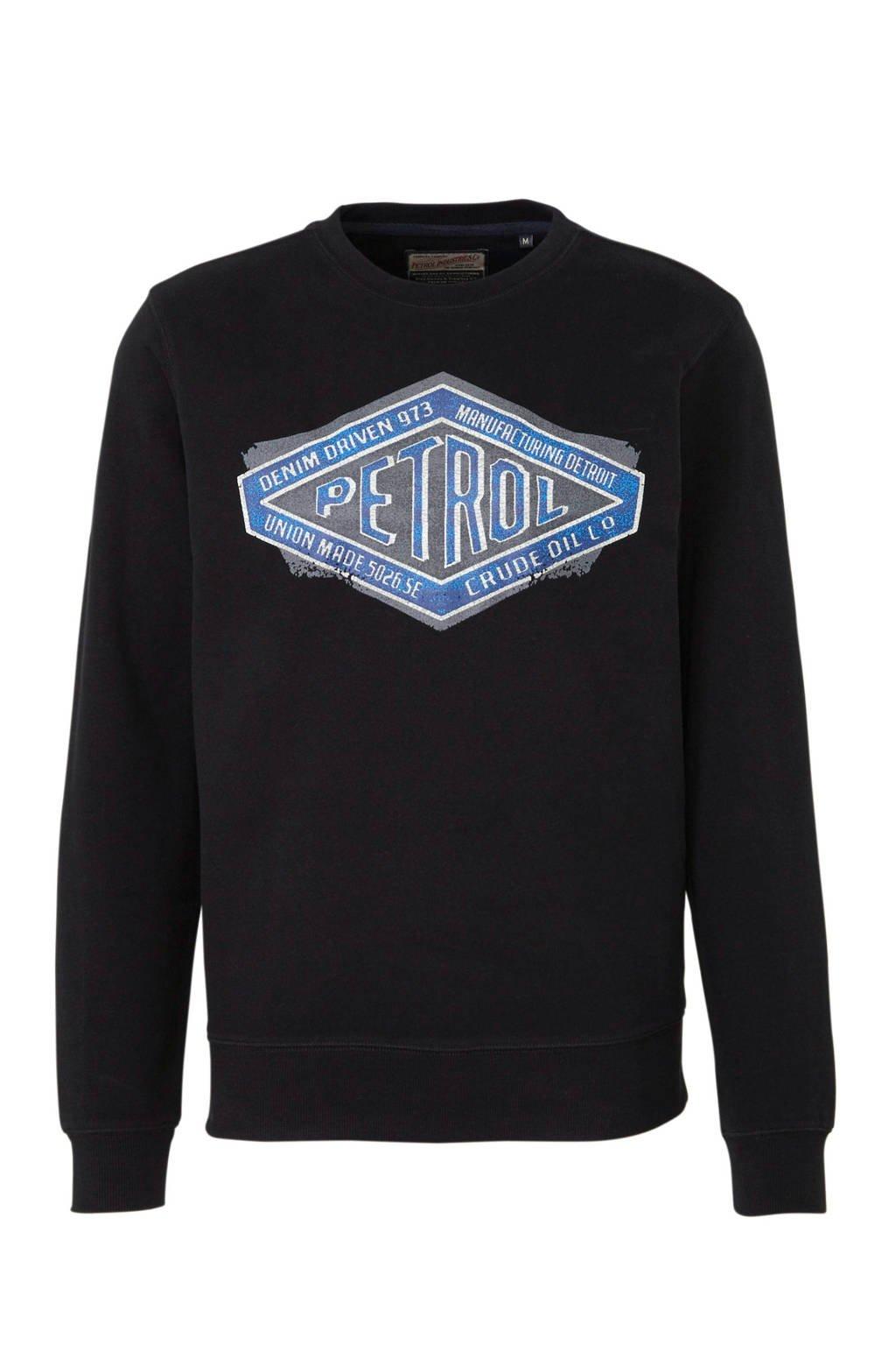 Petrol Industries sweater met printopdruk zwart/blauw/grijs, Zwart/blauw/grijs