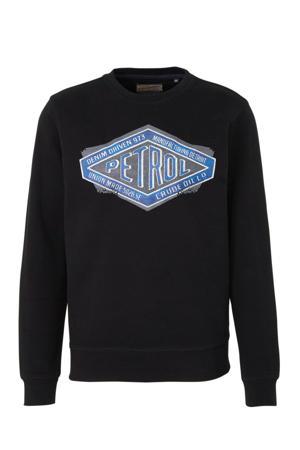 sweater met printopdruk zwart/blauw/grijs