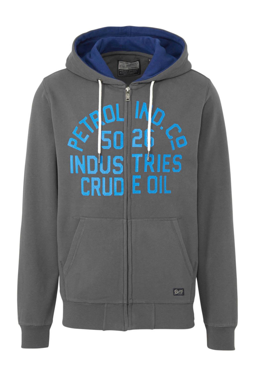 Petrol Industries vest met tekst grijs/blauw/lichtblauw, Grijs/blauw/lichtblauw