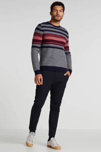 McGregor gestreepte trui met wol donkerblauw/grijs/rood