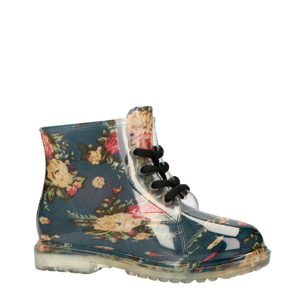 Gevavi   Yara regenlaarzen bloemenprint, Blauw/multi