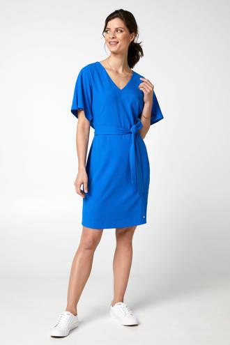 jurk met V-hals blauw