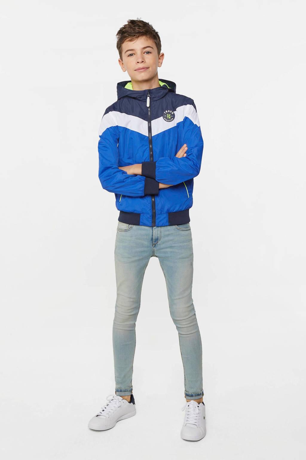WE Fashion zomerjas hard blauw/donkerblauw/wit, Hard blauw/donkerblauw/wit