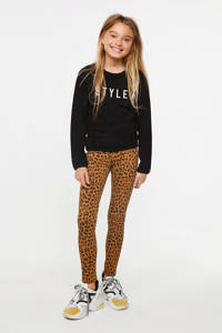 WE Fashion sweater met tekst en borduursels zwart/wit, Zwart/wit