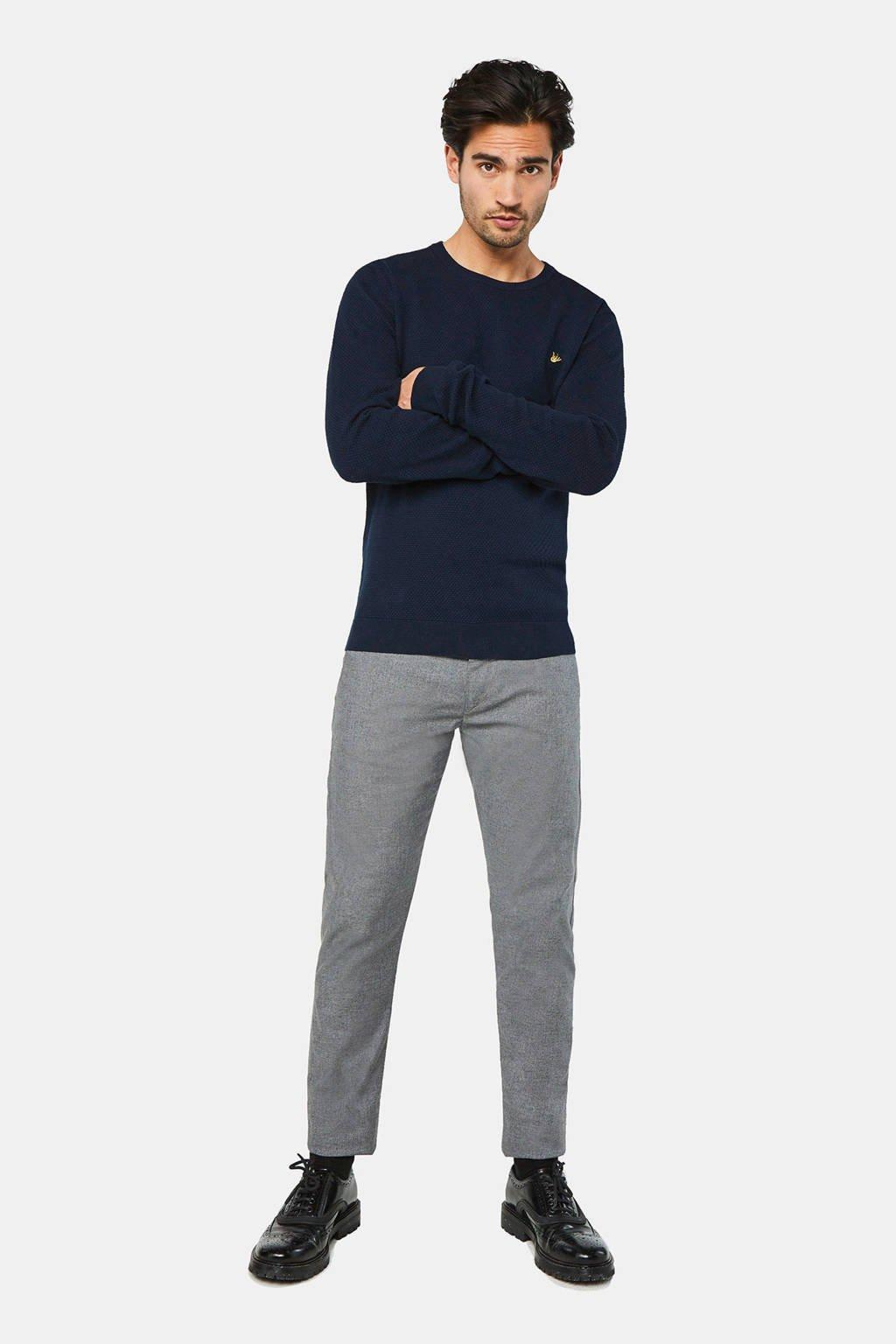 WE Fashion gemêleerde slim fit chino grey melange