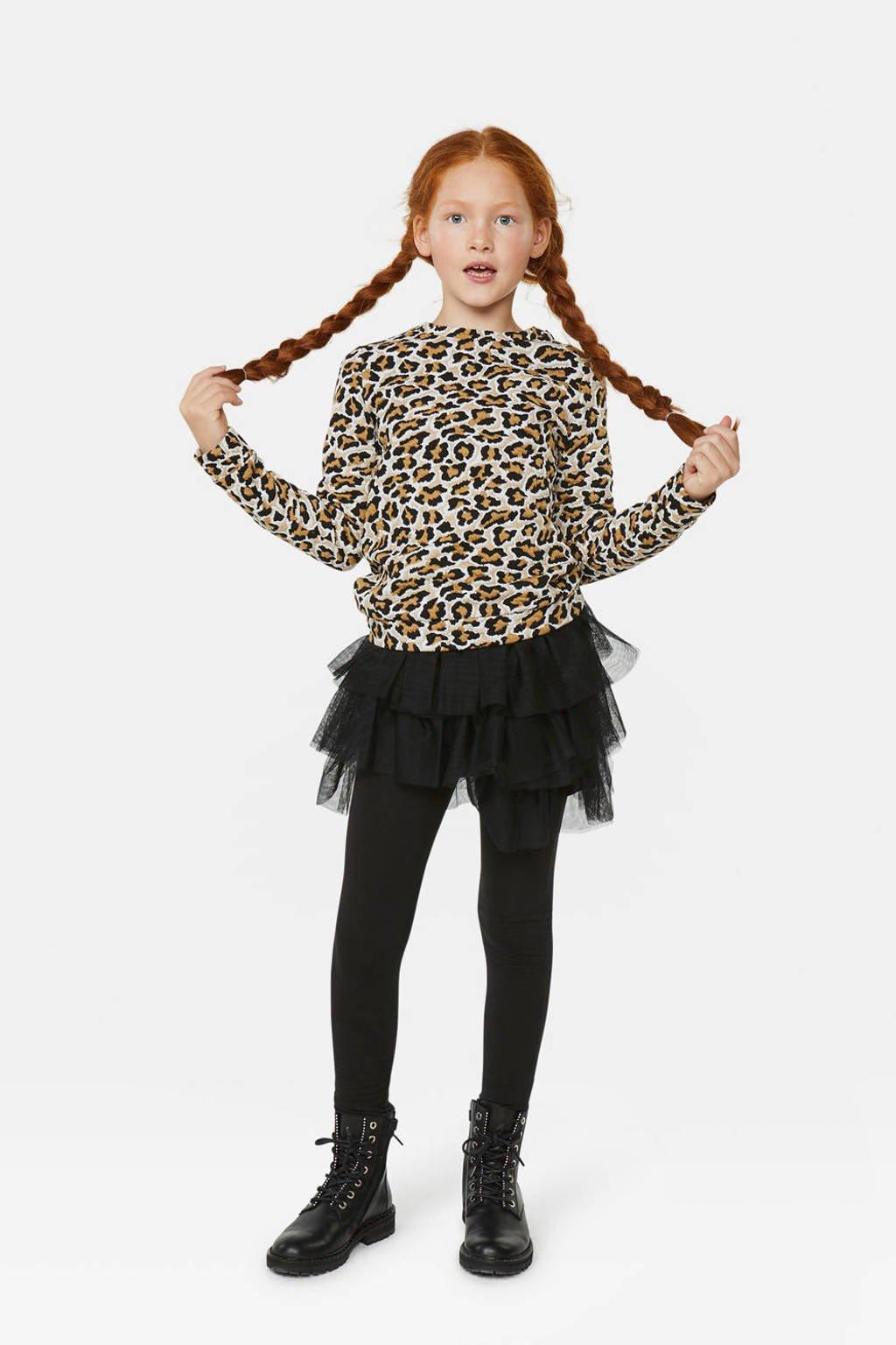 WE Fashion longsleeve met panterprint wit/beige/bruin/wart, Wit/beige/bruin/wart
