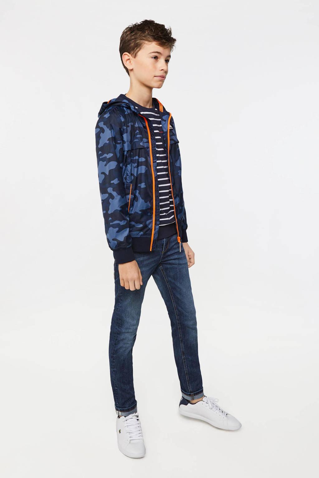 WE Fashion tussenjas met camouflageprint donkerblauw/blauw, Donkerblauw/blauw