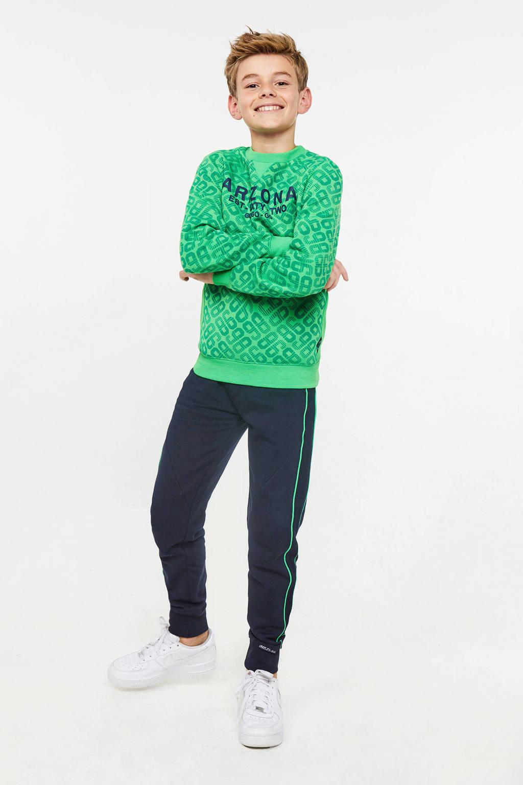 WE Fashion   joggingbroek met zijstreep donkerblauw, Donkerblauw/groen
