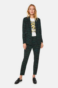 WE Fashion blazer met zebraprint zwart/groen, Zwart/groen