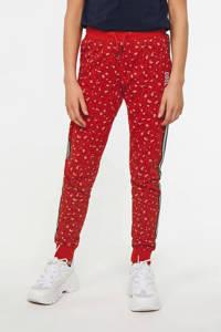 WE Fashion joggingbroek met panterprint rood, Rood