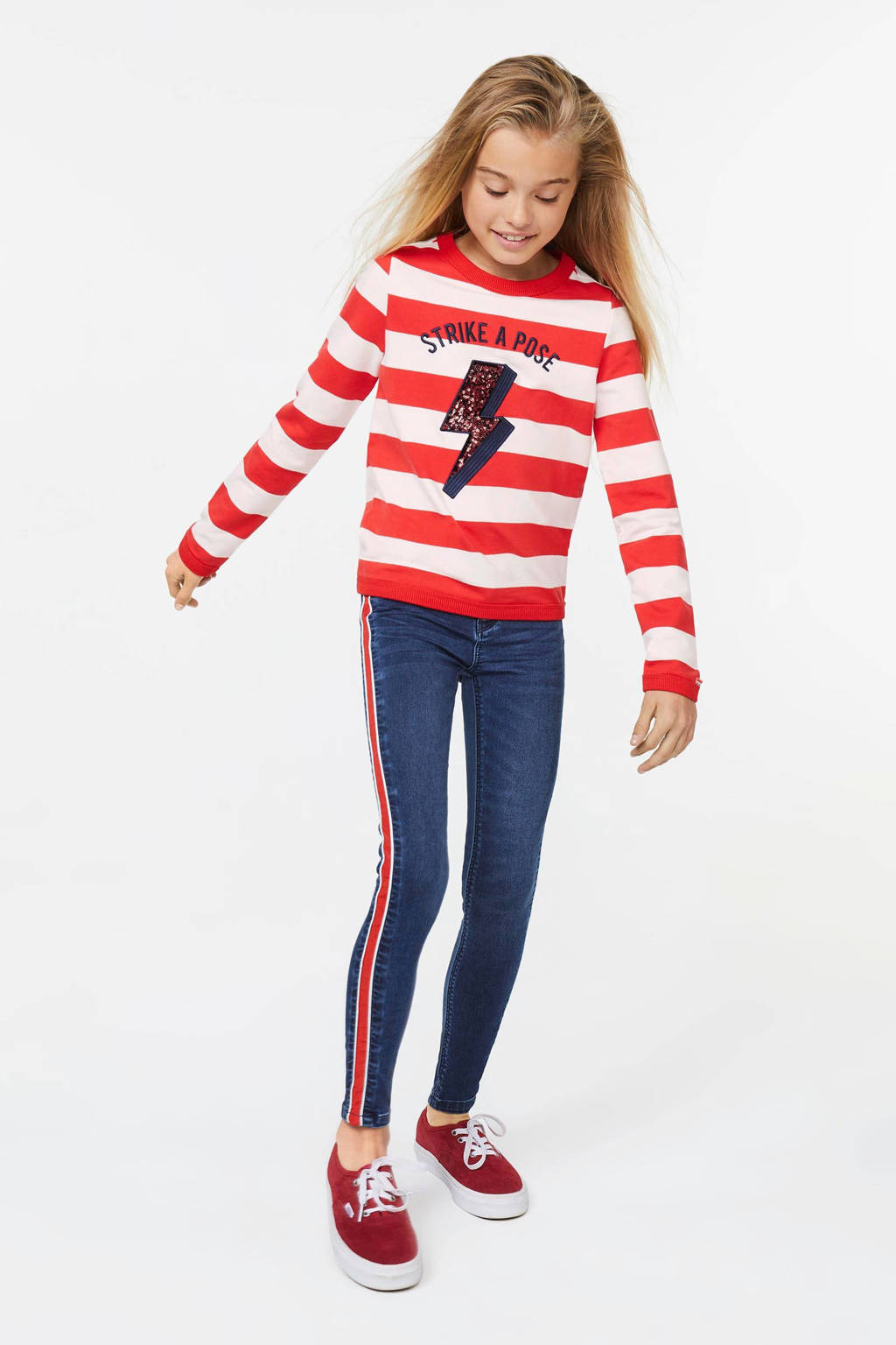 WE Fashion gestreepte sweater rood/wit, Rood/wit