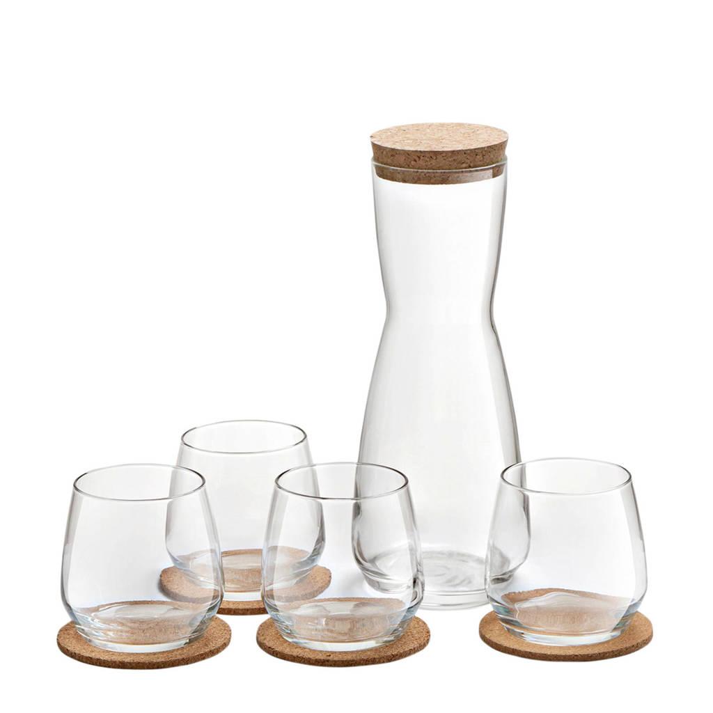 Royal Leerdam Debonair glazenset met karaf en coasters (set van 10), Transparant