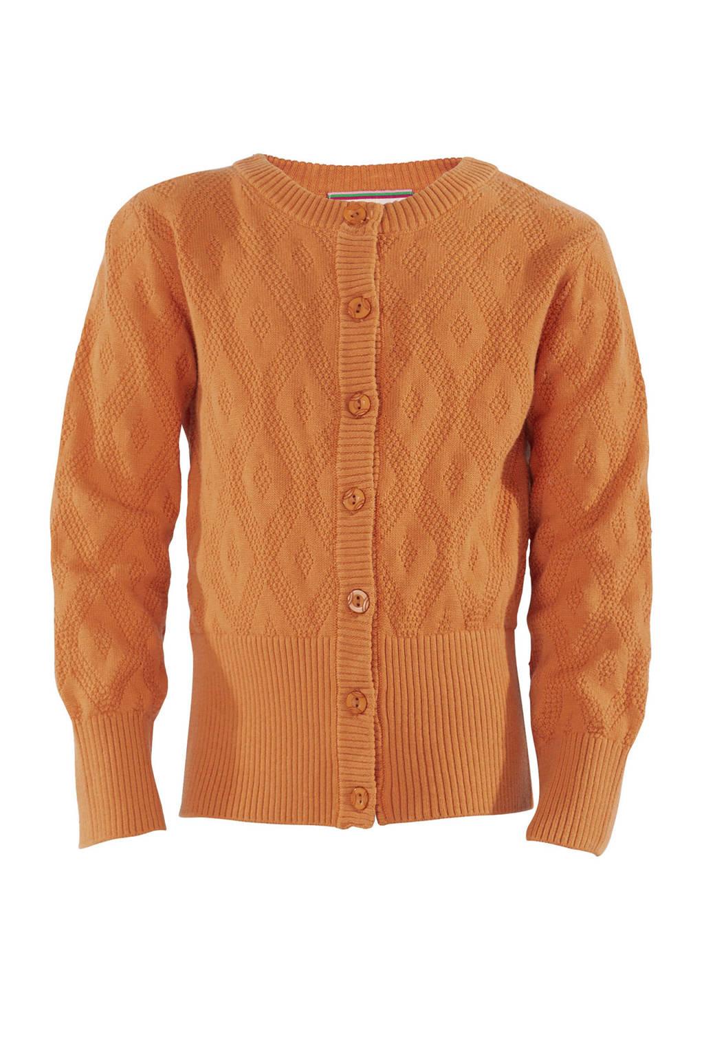4funkyflavours fijngebreid vest Never Let You Go oranje, Oranje