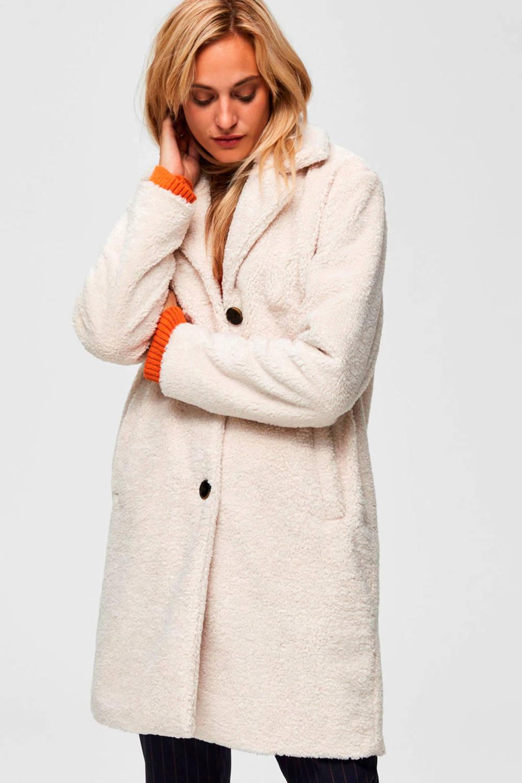 SELECTED FEMME imitatiebont coat wit, Grijs
