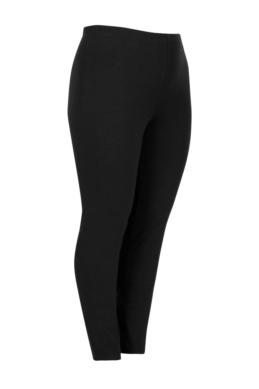 Miss Etam Plus legging met biologisch katoen zwart, Zwart