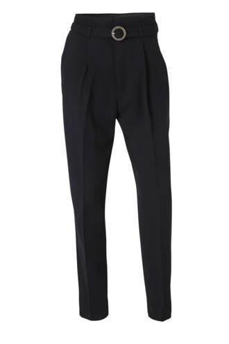 high waist regular fit pantalon zwart