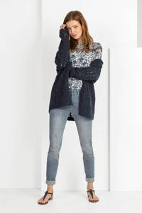 Expresso semi-transparante top Hopke met all over print champagne/donkerblauw, Champagne/donkerblauw