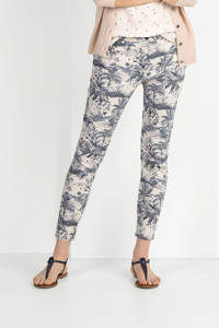 Expresso slim fit broek Heidi met all over print champagne, Champagne