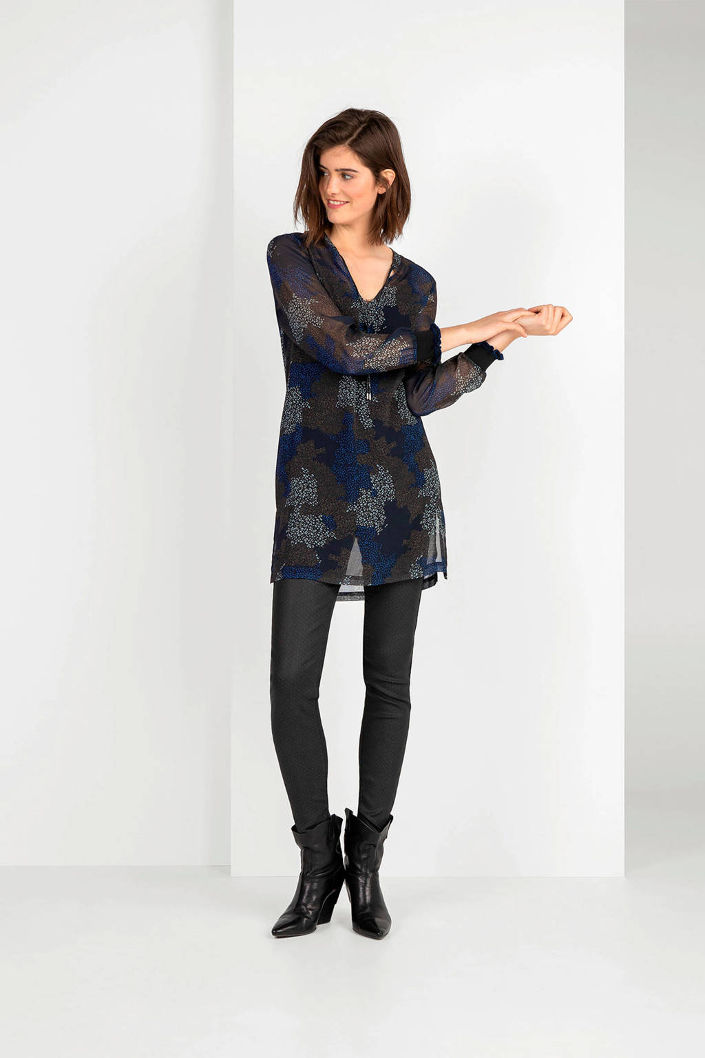 Expresso semi-transparante tuniek Lotte met all over print en ruches blauw/wit, Blauw/wit