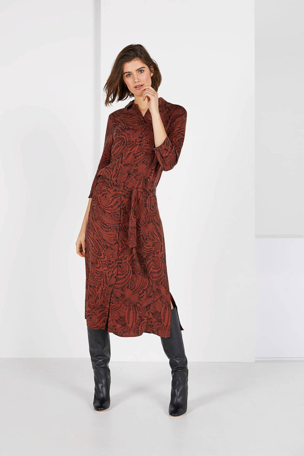 Expresso blousejurk met all over print roodbruin, Roodbruin