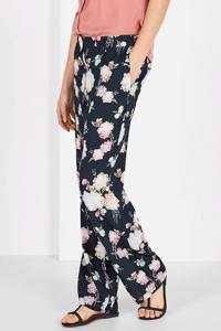 Expresso gebloemde straight fit broek Hester zwart/ecru/roze, Zwart/ecru/roze