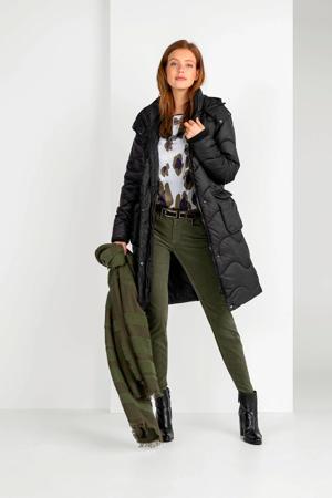 ribgebreide winterjas Lia met contrastbies zwart