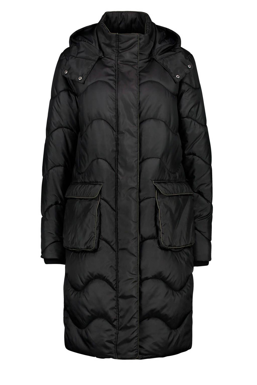 Expresso ribgebreide winterjas Lia met contrastbies zwart, Zwart