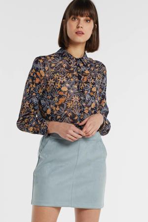 semi-transparante blouse met all over print multicolor