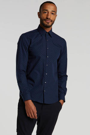 CALVIN KLEIN slim fit overhemd met all over print donkerblauw