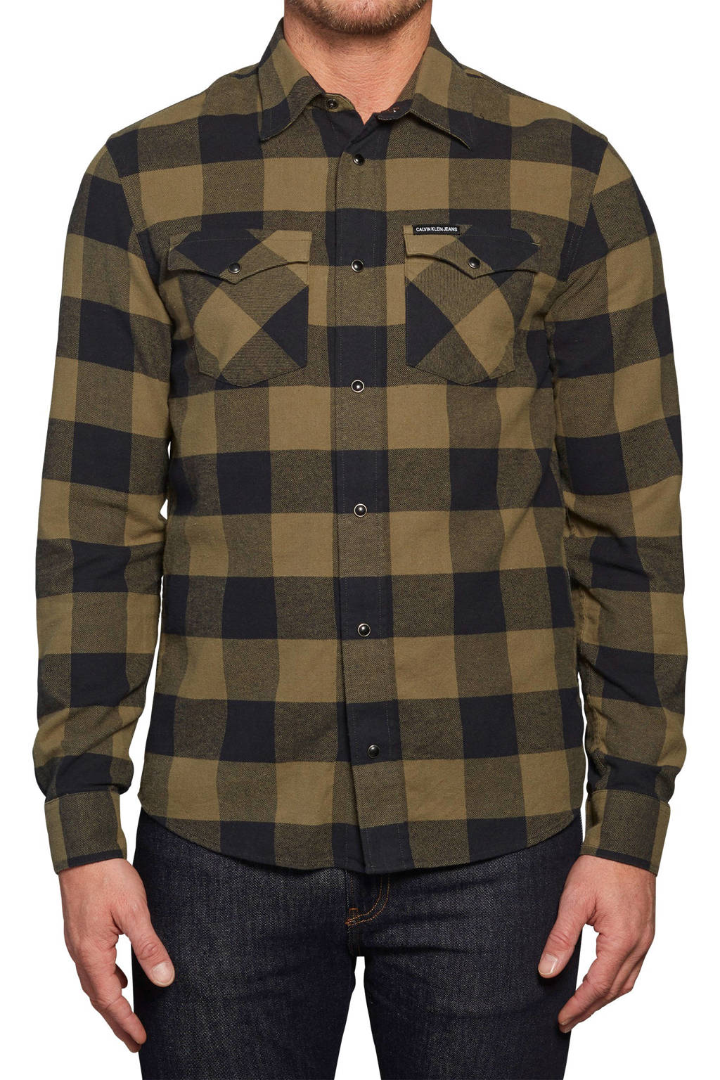 CALVIN KLEIN JEANS geruit slim fit overhemd bruin/zwart, Bruin/zwart