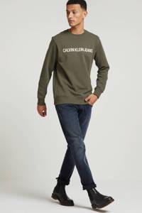 CALVIN KLEIN JEANS sweater met tekst olijfgroen, Olijfgroen
