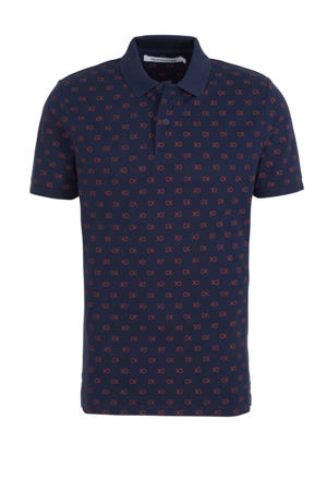 slim fit polo met all over print donkerblauw