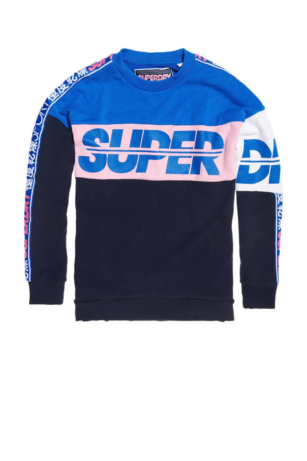 Superdry Sport sweater blauw/roze/zwart, Blauw/roze/zwart