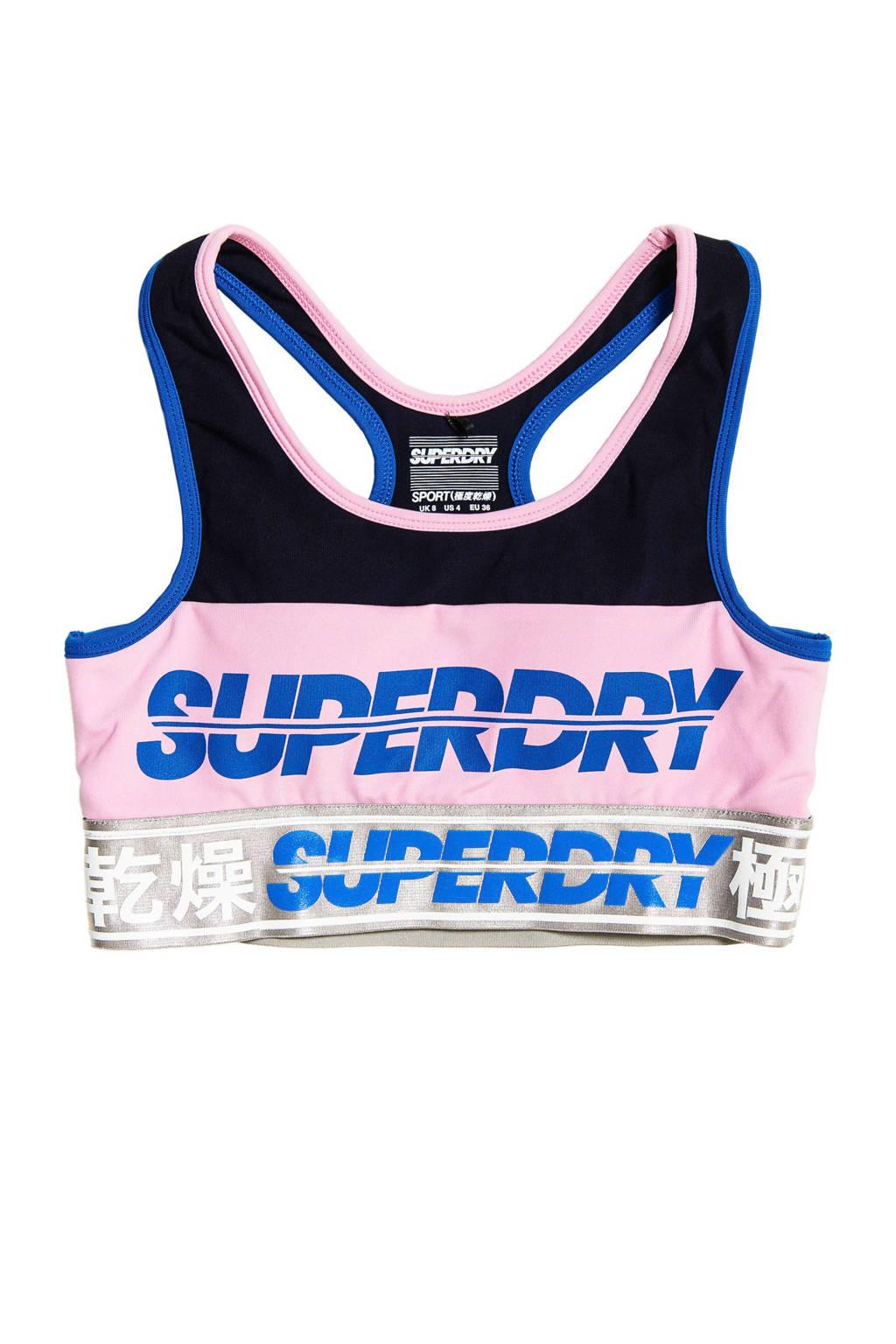 Superdry Sport Level 1 sportbh, Roze/zwart/blauw