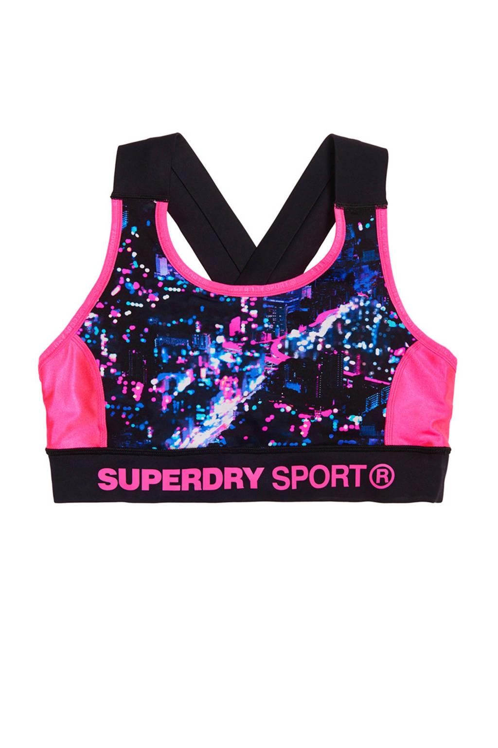 Superdry Sport Level 1 sportbh, Roze/blauw/zwart