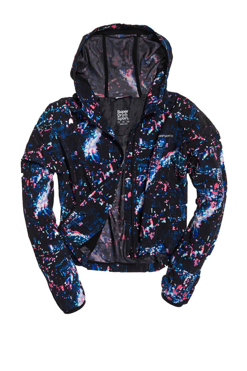 Superdry Sport jack zwart/blauw/roze, Zwart/blauw/roze