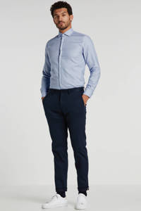 Tommy Hilfiger Tailored slim fit overhemd met all over print blauw/wit, Blauw/wit