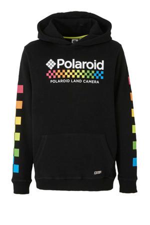 Hi hoodie met printopdruk zwart/wit/multi