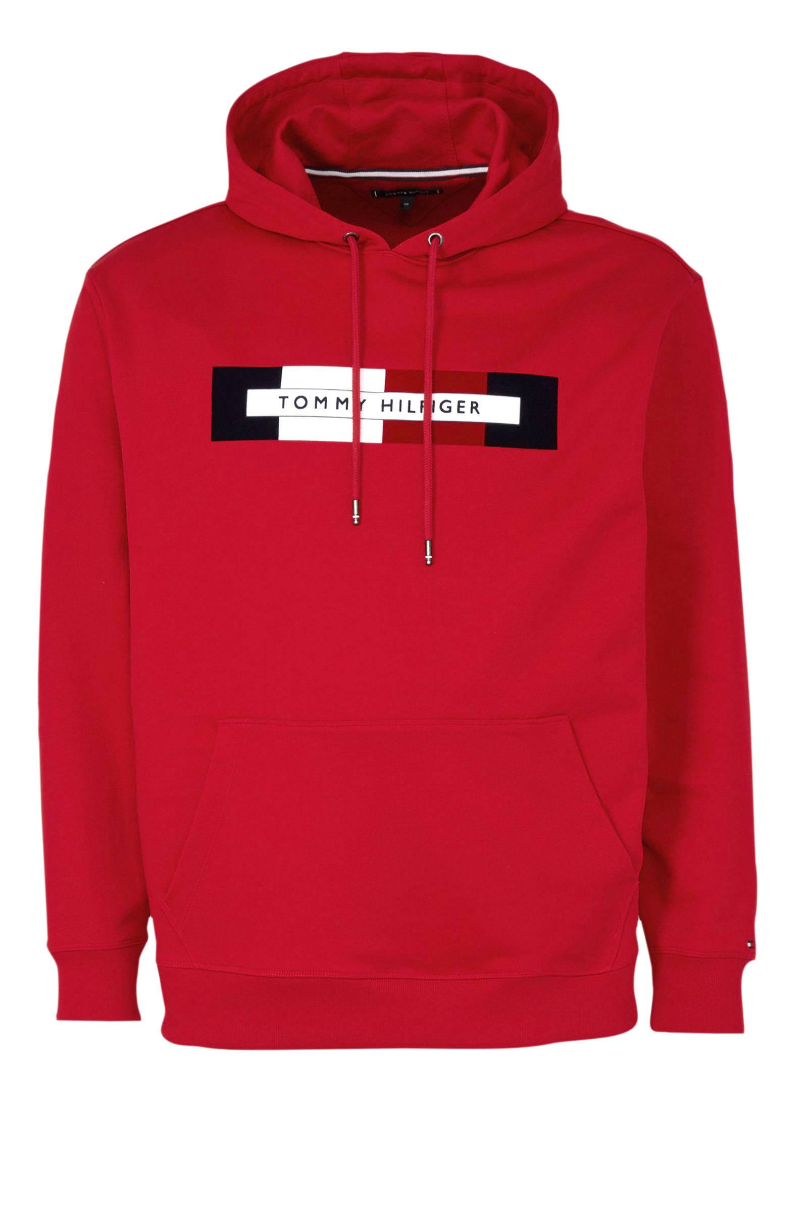 +size hoodie met printopdruk rood