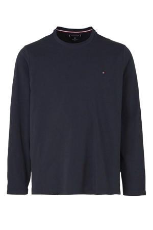 +size T-shirt met logo donkerblauw