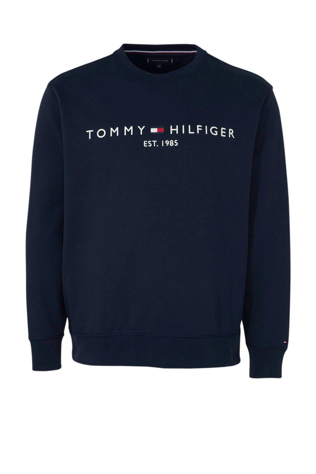 Tommy Hilfiger Big & Tall +size sweater met logo marine, Marine